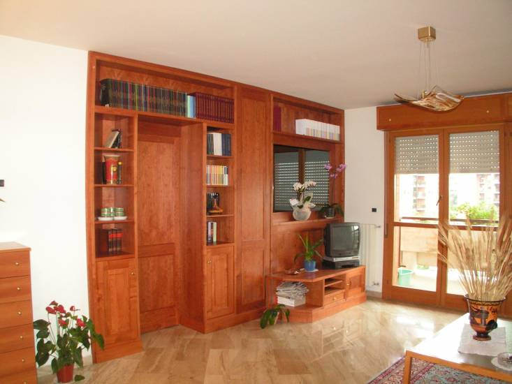 Libreria divisoria 3 in legno fabbrica di zona giorno su for Libreria divisoria con porta